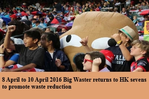 8 April to 10 April 2016 Big Waster returns to HK Sevens to promote waste reduction