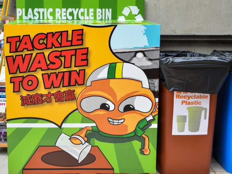 Big Waster returns to HK Sevens to promote waste reduction: Recycling bins in rugby 7 venue